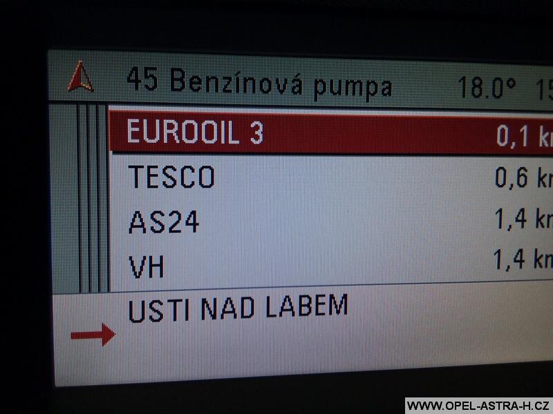 Opel navigace benzínové pumpy