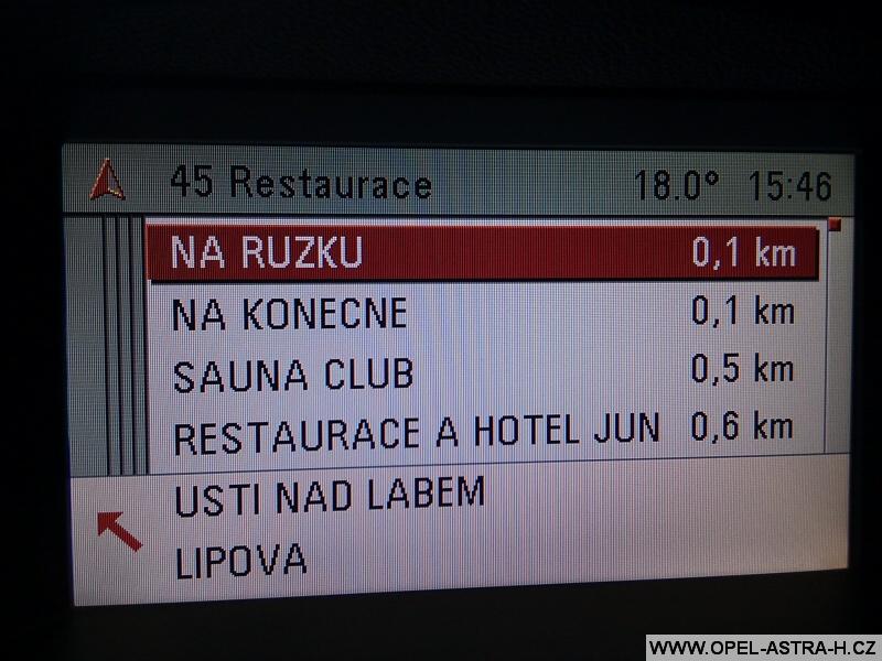 Opel navigace restaurace