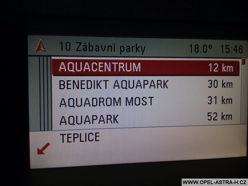 Opel navigace zábavní parky
