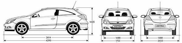 Rozměry Opel Astra H