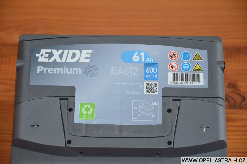 Autobaterie Exide Premium EA612 (12v, 61ah, 600a) 2