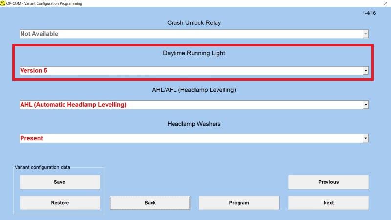 OP-COM Nastavení denního svícení (Daytime Running Light)