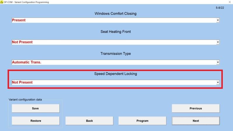 OP-COM Automatické zamykání dveří po rozjezdu (Speed Dependent Locking)