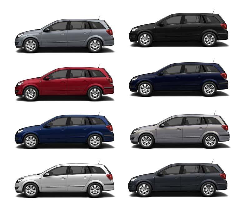 Opel Astra H caravan - barvy