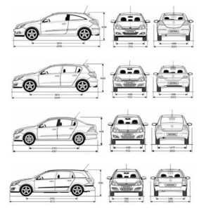 Opel Astra H parametry - rozměry